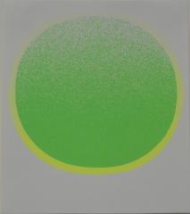 Rupprecht Geiger,Grüner Kreis mit gelben Kranz auf Weiß           Weiss