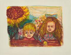 Otto Dix,  Zwei Kinder(mit Sonnenblume)